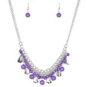 Summer Showdown Purple Silver Necklace Jewelry